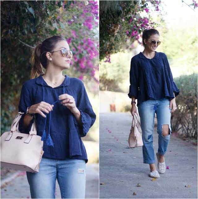 Outfit con Blusa Azul marino