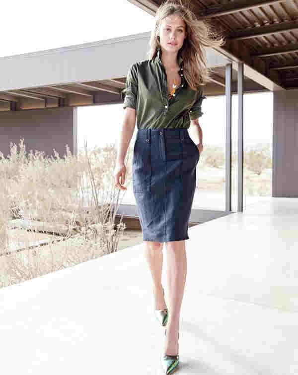 Outfit con Falda Azul marino