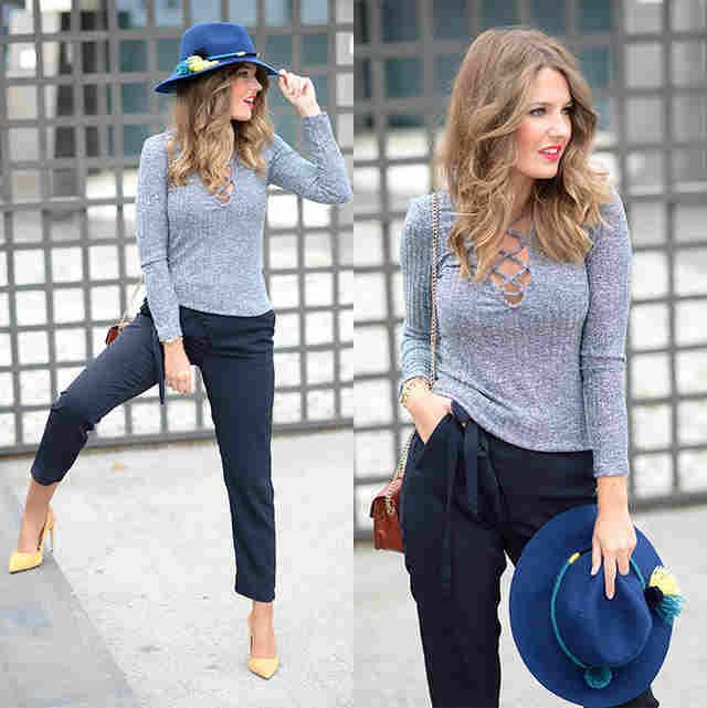 Outfit con Pantalón Azul marino