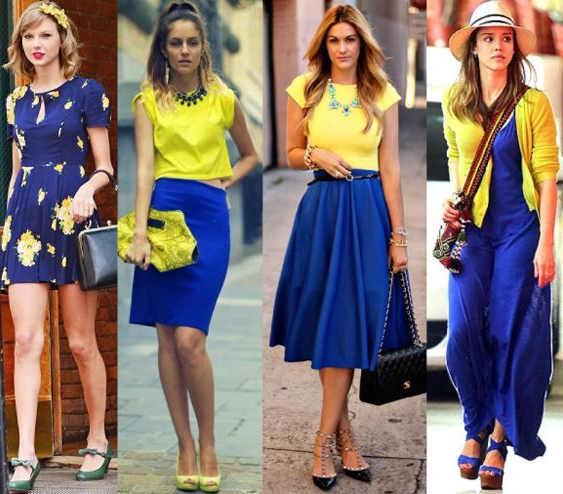 azul marino con amarillo vestidos