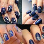 uñas decoradas con azul marino