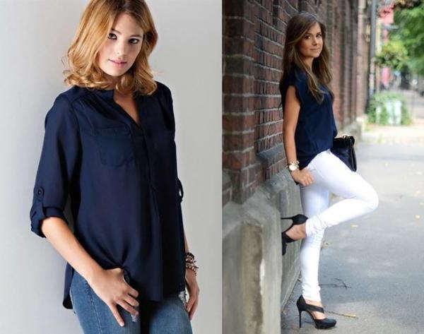 combinar camisa azul marino mujer