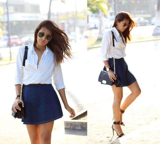 combinar falda azul marino corta