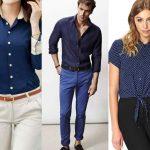 como combinar camisa azul marino