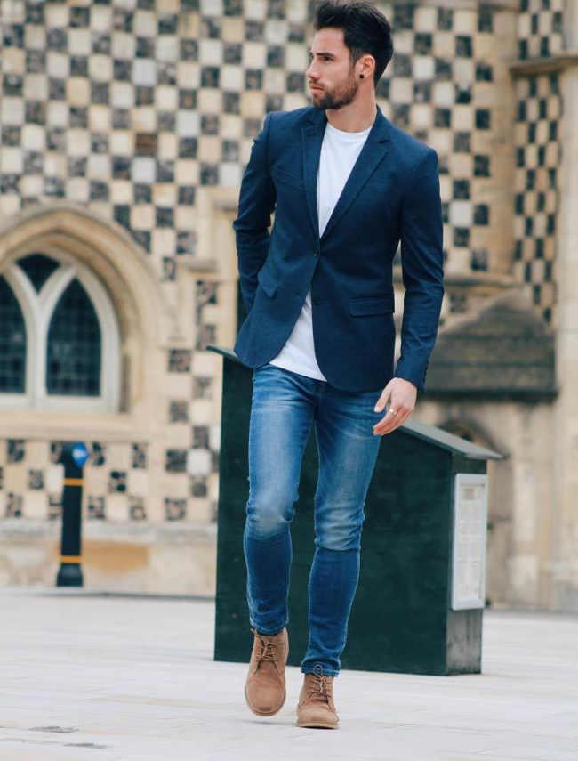 como combinar jeans azul marino hombre