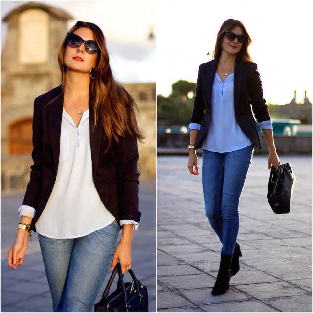 como combinar un blazer azul marino mujer