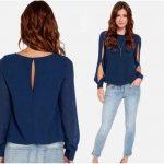 Cómo combinar una blusa azul marino de mujer