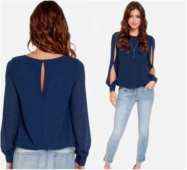 como combinar una blusa azul mujer