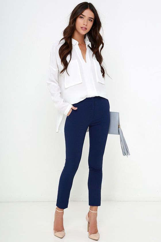 como combinar unos leggins azul marino mujer
