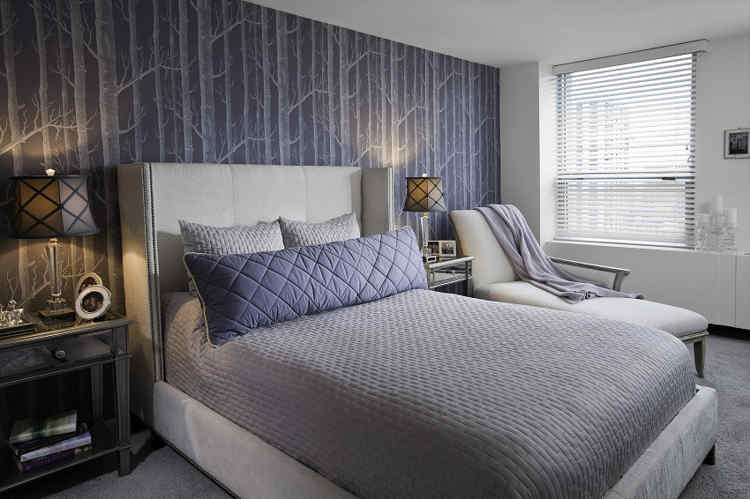 decorar habitacion en azul marino con gris