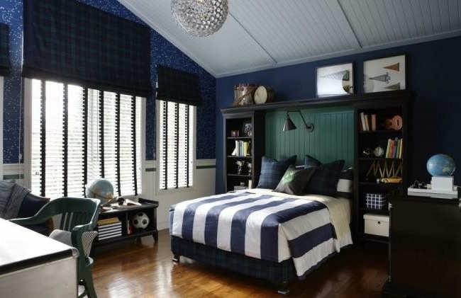decorar habitacion en azul marino niño