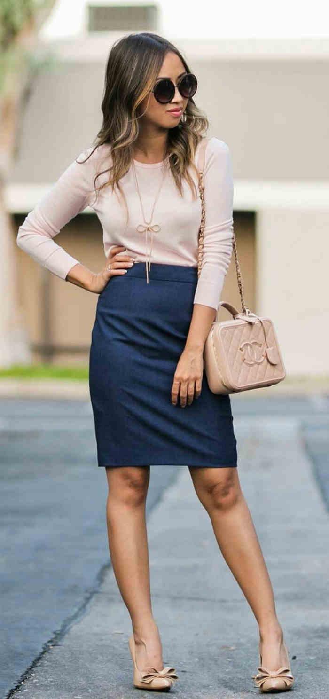 falda azul marino con rosa palo