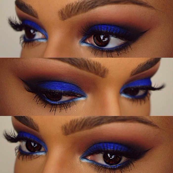 ojos en azul rey