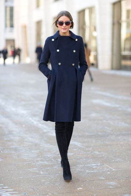 vestido azul marino con negro