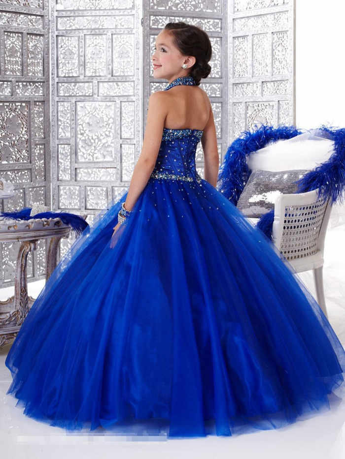 vestidos largos azul rey niñas