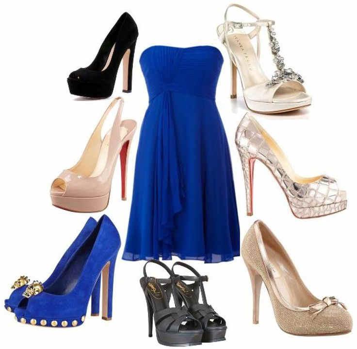 Combinar vestido azul y zapatos